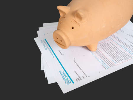 tax evasion: UK tax return and pig money box. Financial advice concept. Stock Photo