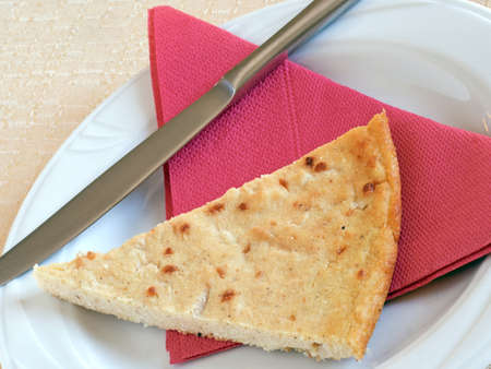 savoury: Home made slice of Barbotta, savoury pie from Lunigiana, Italy.