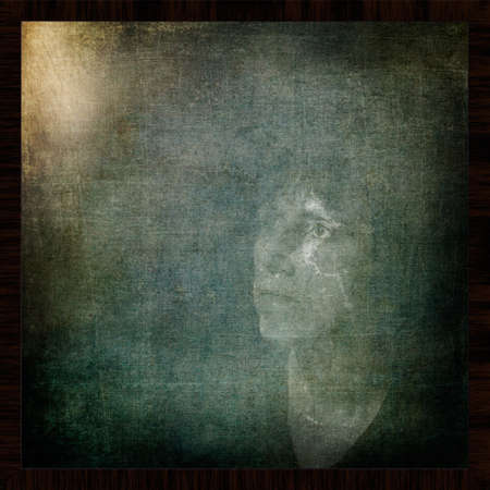 rembrandt: Woman looking for inspiration or muse vintage Rembrandt stye. Stock Photo
