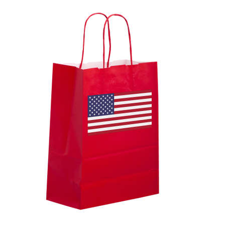 the carrier: Shop USA. Carrier bag with flag. Stock Photo