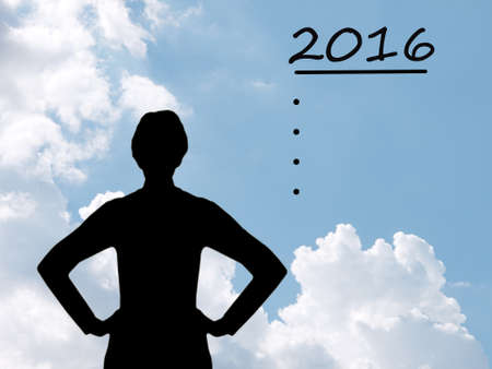 envisage: Strong woman silhouette with aim, ambitions to New Year 2016