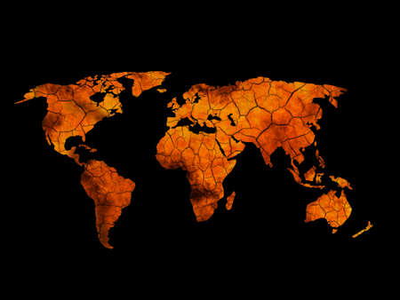 mapa conceptual: Agrietada quemada mapa de la tierra. Eco de fondo, el cambio climático.
