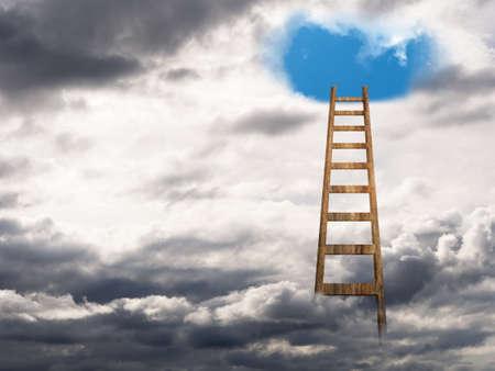 escaleras: Escalera al cielo o hacia el azul cielo, la felicidad. Foto de archivo