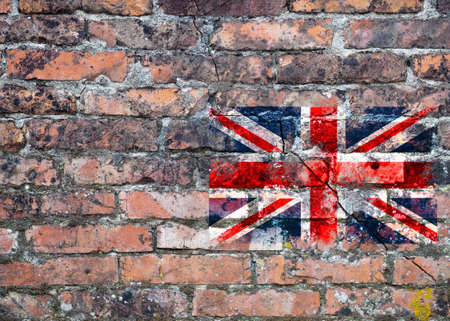 urban decline: Decline and fall of United Kingdom. Flag on wall.