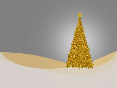 understated: Neutral palette gold and silver Christmas card design with tree