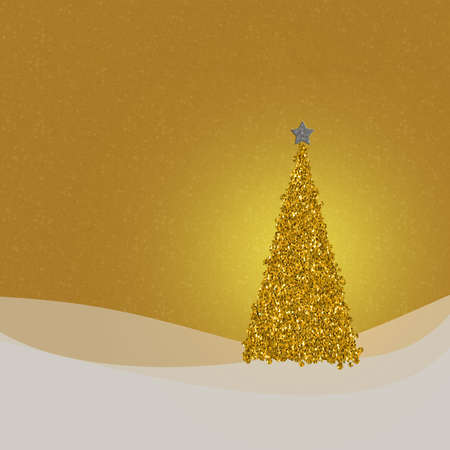 glittery: Golden glittery Christmas tree card. Square crop. Stock Photo