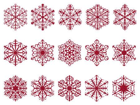 red glittery: Fiocchi di neve rossi, scintillante struttura. Isolati su bianco.