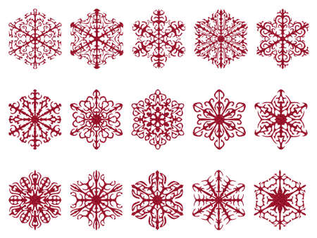 red glittery: Red snowflakes, glittery texture. Isolated on white. Stock Photo