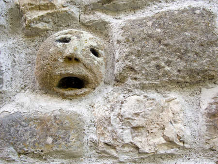 spirits: Ugly face in wall. Faccione. It used to be blieved that they kept evil spirits away.