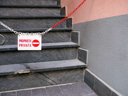 no entry: No meritocracy concept. IN ITALIAN.  No entry. Stock Photo