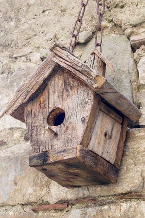 nesting: Wooden bird nestbox, nesting box. Stock Photo