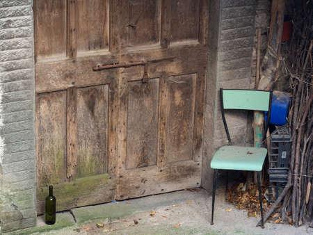 poignant: Doorway.Deserted village. Italy, Lunigiana area of north Tuscany. Stock Photo