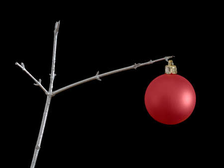 economise: Frugal Christmas.One red bauble on slver painted DIY twig