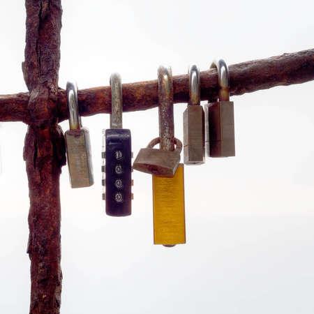 symbolic: Love lock, symbolic. Italy. Plain background.