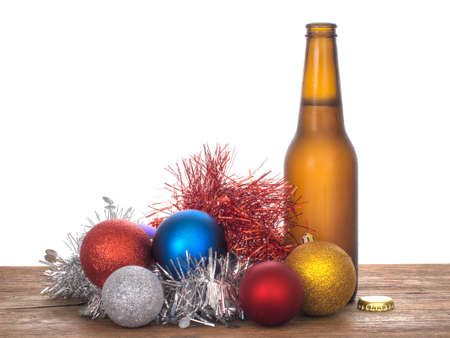 the tinsel: Baubles beer and tinsel, Christmas still life. Stock Photo