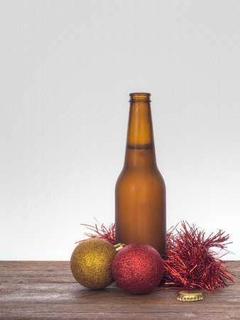 aussie: Baubles and beer Christmas still life. Aussie Xmas maybe