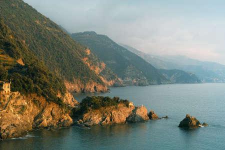 cinque: Golden light, autumn evening near Monterosso in the Cinque Terre. Stock Photo