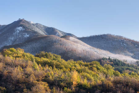moutains: First snow. on Apennines. Lunigiana landscape. November 2015.