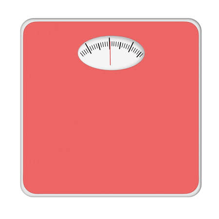 mentioned: Generic red bathroom scales, isolated. No numbers, weight mentioned.