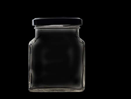 lid: Retro square glass jar with lid isolated on black Stock Photo