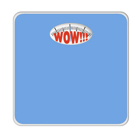 mentioned: WOW bathroom scales. No numbers, weight mentioned. Stock Photo