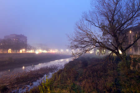 december: Foggy day in Parma, Italy. December 2015. Stock Photo