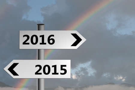 brighter: Brighter future signposts with real rainbow sky.