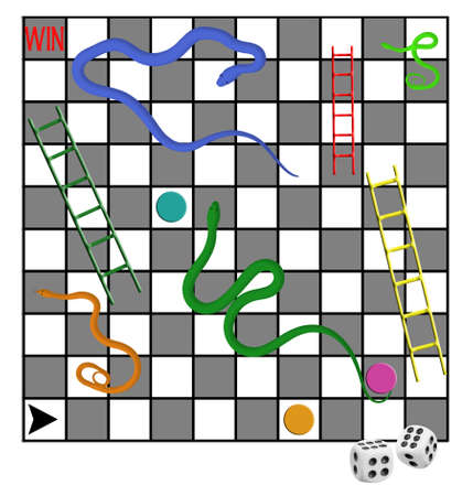snakes and ladders: Business maybe. Snakes and ladders, win, lose etc. All elements created by author.
