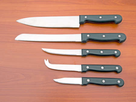 paring: Generic, stainless steel kitchen knife set.