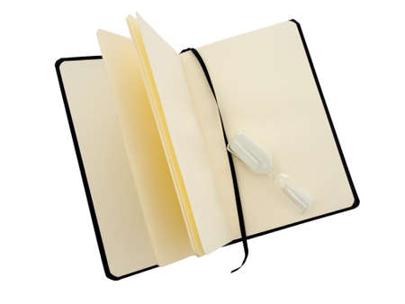 unlined: Book with timer. Black cover. Isolated.