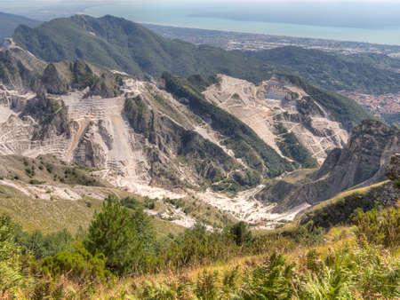 quarries: Beautiful but industrial. Carrara marble quarries. Stock Photo
