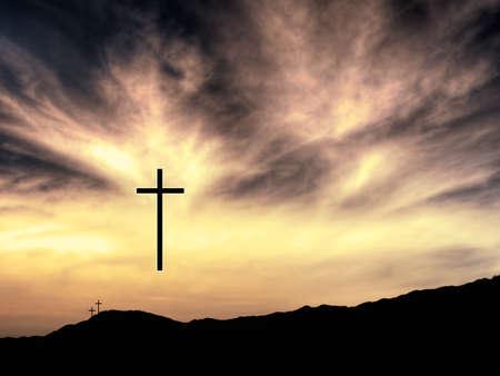 easter cross: Christian Easter. He is risen.