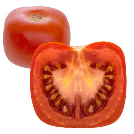 genetically: Genetically modified tomato. Square. Isolated on white. Stock Photo