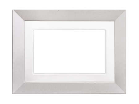 Silvery photo frame isolated on white.