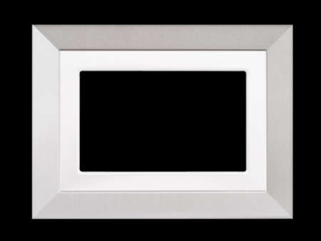 Fairly generic photo frame, silvery. Isolated on black.