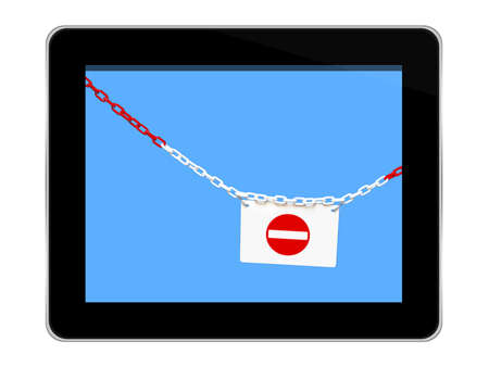 safety net: Internet privacy, security concept. Tablet isolated on white, with chain and No Entry sign.