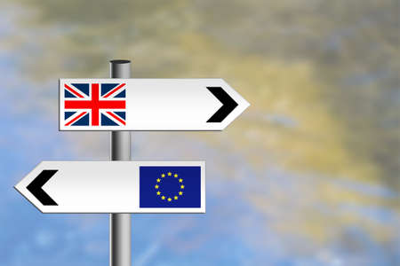 UK EU road sign, different directions