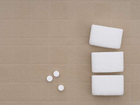 aspartame: Sweeteners - sugar cubes and artificial sweeteners - aspartame etc