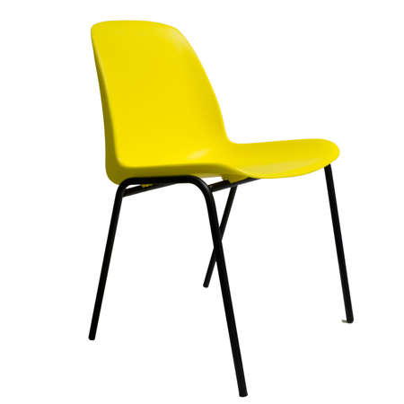 stackable: Standard office chair. Bright yellow, isolated.