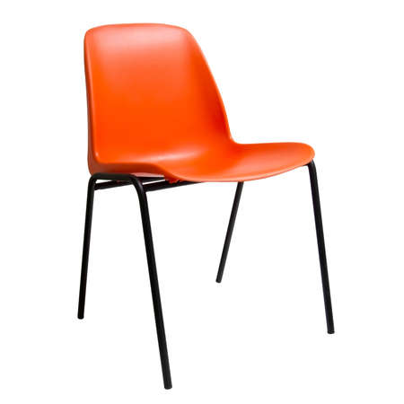 stackable: Orange colour Plastic chair isolated on white Stock Photo