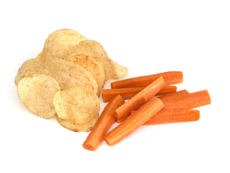 crisps: Snack options, choices. Crisps, carrot. On white background