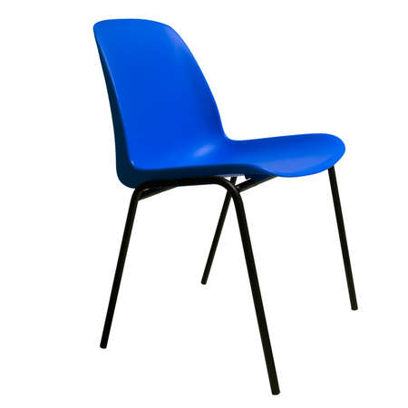 stackable: Generic design. Blue stackable chair isolated on white.