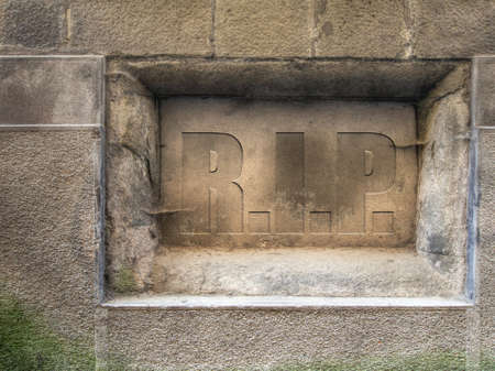 unmarked: RIP, rest in peace. Plaque. Stock Photo