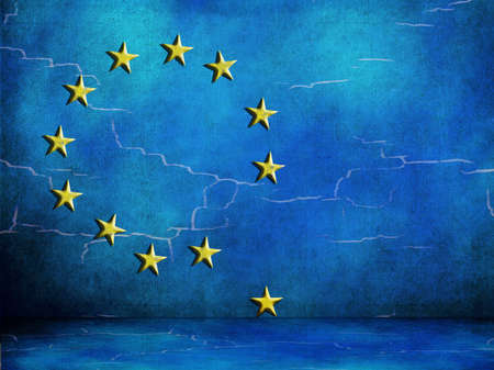with difficulty: EU European Union looking flaky. In difficulty.