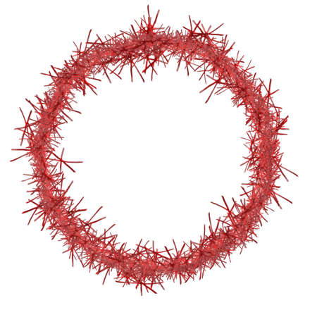 the tinsel: Traditional festive frame, border. Red tinsel Christmas ring.