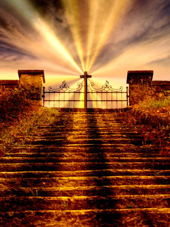 Gate to heaven, stairway. Steps, cross with rays.
