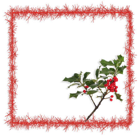 the tinsel: Tinsel and holly background Stock Photo