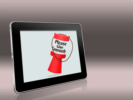 raising cans: Online giving. Tablet computer with cocllecting donations tin.