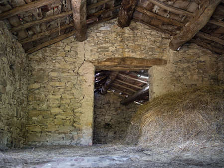 rafters: Old stone barn with rafters. Italy. Stock Photo