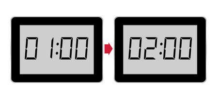 put forward: Put clocks forward, British Summer Time, BST. Isolated on white.